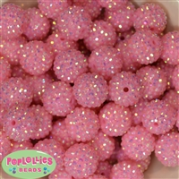 20mm Pink Rhinestone Bubblegum Beads Bulk