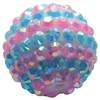 20mm Pink & Blue Stripe Rhinestone Bubblegum Beads
