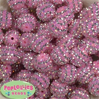 20mm Pink & Silver Stripe Rhinestone Bubblegum Beads