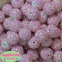 20mm Pink and White Stripe Rhinestone Bubblegum Beads
