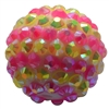 20mm Pink and Yellow Stripe Rhinestone Bubblegum Beads