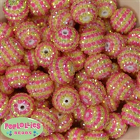 20mm Pink and Yellow Stripe Rhinestone Bubblegum Beads Bulk