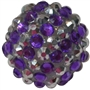 20mm Purple and Silver Stripe Rhinestone Bubblegum Bead