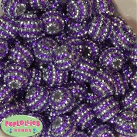 20mm Purple and Silver Stripe Rhinestone Bubblegum Bead Bulk