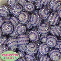 20mm Purple & White Stripe Rhinestone Bubblegum Beads