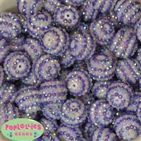 20mm Purple & White Stripe Rhinestone Bubblegum Beads Bulk