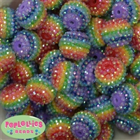 20mm Rainbow Stripe Rhinestone Bubblegum Beads Bulk