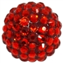 20mm Red Rhinestone Bubblegum Beads