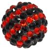 20mm Red & Black Stripe Rhinestone Bubblegum Beads