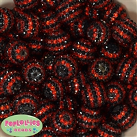 Bulk 20mm Red and Black Stripe Rhinestone Beads