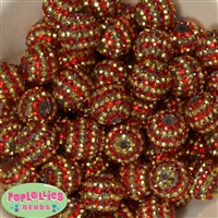 20mm Red & Gold Stripe Rhinestone Bubblegum Beads Bulk