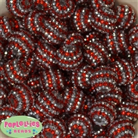 20mm Red & Silver Stripe Rhinestone Bubblegum Beads Bulk