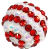 20mm Candy Cane Stripe Rhinestone Bubblegum Beads