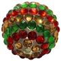 20mm Red, Gold and Green Stripe Rhinestone