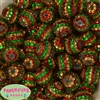 20mm Red, Gold, and Green Stripe Rhinestone Bubblegum Beads