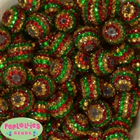 20mm Red, Gold, and Green Stripe Rhinestone Bubblegum Beads Bulk
