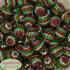 20mm Red, Green, Silver Stripe Rhinestone Bubblegum Beads