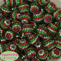 20mm Red, Green, Silver Stripe Rhinestone Bubblegum Beads Bulk