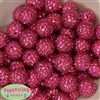 20mm Rose Rhinestone Bubblegum Beads