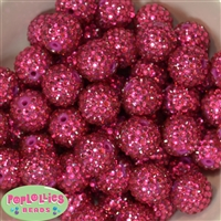 20mm Rose Rhinestone Bubblegum Beads Bulk