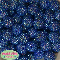 20mm Royal Blue Rhinestone Bubblegum Beads Bulk