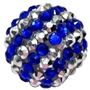 Royal Blue & Silver Stripe Rhinestone