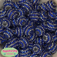 20mm Royal and Silver Stripe Rhinestone Beads