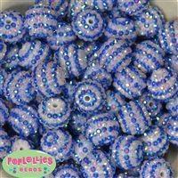 20mm Royal and White Stripe Rhinestone Beads