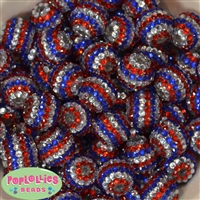20mm Red, Silver, Blue Stripe Rhinestone Bubblegum Beads Bulk