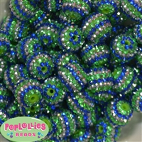 20mm Royal Silver and Lime Stripe Rhinestone Bubblegum Beads