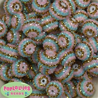 20mm Unicorn Stripe Rhinestone Bubblegum Beads