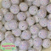 20mm White Rhinestone Bubblegum Beads