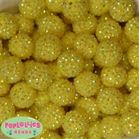 20mm Yellow Rhinestone Bubblegum Beads Bulk