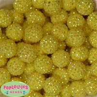 Bulk 20mm Yellow Rhinestone Beads