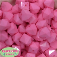 20mm Solid Pink Cube Bubblegum Bead