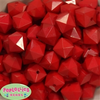 20mm Solid Red Cube Bubblegum Bead