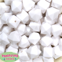 20mm Solid White Cube Bubblegum Bead