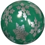 20mm silver snowflakes printed on green solid bubblegum beads