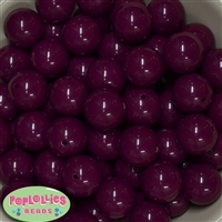 20mm Maroon Solid Bubblegum Beads