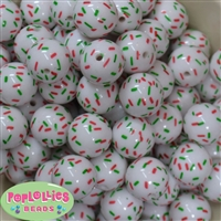 20mm Christmas Sprinkles Acrylic Bubblegum Beads