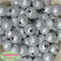 20mm Silver Stardust Bubblegum Beads