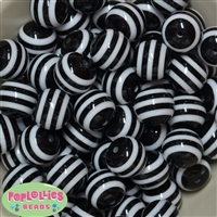 20mm Black Stripe Resin Bubblegum Beads