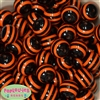 20mm Black & Orange Stripe Resin Bubblegum Beads