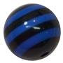 20mm Black & Royal Blue Stripe Resin Bubblegum Beads