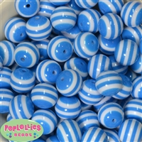20mm Blue Stripe Resin Bubblegum Beads