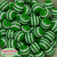 20mm Christmas Green Stripe Resin Bubblegum Beads