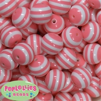 20mm Coral Stripe Resin Bubblegum Beads