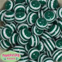 20mm Emerald Green Stripe Resin Bubblegum Beads
