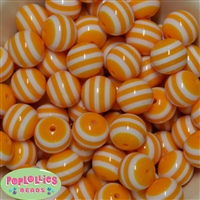 20mm Gold Stripe Resin Bubblegum Beads