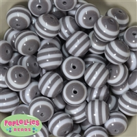 20mm Gray Stripe Resin Bubblegum Beads